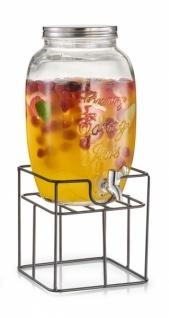 SET: XXL GETRÄNKE SPENDER aus GLAS 5 L mit ZAPFHAHN + STÄNDER Wasser Dispenser
