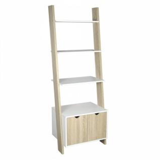 CRIBEL Leiter Regal NATURE weiß / eiche 4 Böden 2 Türen Wand Bücher Raumteiler #