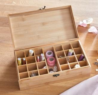 """Holz Schatulle """" Petite Part"""" aus Bambus, Schmuck Ohrringe Näh Garn Organizer"""
