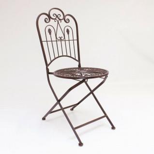 """Metall Klappstuhl """" Provence"""" im Antik Design Nostalgie Eisen Garten Balkon Stuhl - Vorschau 2"""