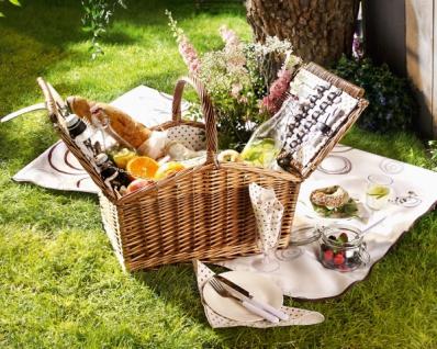 LUXUS Picknick Korb aus Weide für 4 Personen, Porzellan Teller Gläser Besteck
