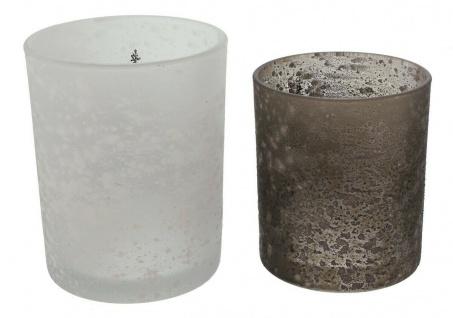 """2er Windlicht ?Schneegestöber"""" Glas Kerzen Halter Ständer Teelicht Weihnachten - Vorschau 4"""