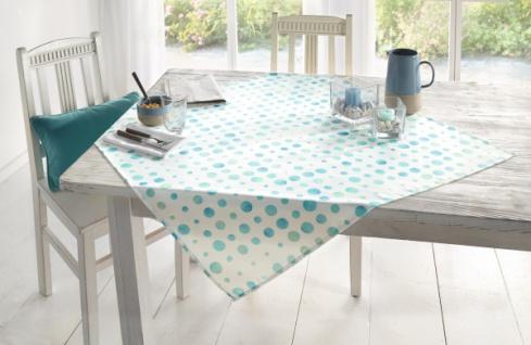 """Tischdecke """" Dots"""" weiß mit Punkten, blau / grün, 100 x 100 cm, Tisch Tuch Wäsche"""
