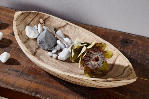 "Schale "" Geflammt"" aus Paulownia-Holz, oval, 42x21 cm, Snack Obst Salat Deko"