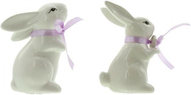 2 Deko Hasen aus Porzellan, weiß lackiert, mit Satin Schleife, Oster Dekoration - Vorschau 4