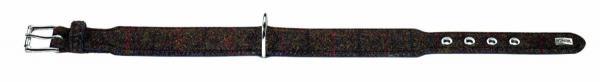 HUNTER STOFF / LEDER HUNDE HALSBAND Textile Tweed braun / schwarz 30 - 34, 5 cm