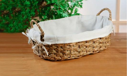 Schale aus Schilfgras oval mit Griffen & Stoff Einlage, Brot Obst Korb Körbchen