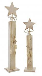 """2er Set Deko Säule """" Stern"""" aus Holz, 40 + 55 cm hoch, Weihnachts Advents Schmuck"""