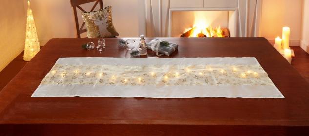 """Tisch Läufer """" Sterne"""" LED Beleuchtung Lichterkette, 40x140 cm, Mittel Decke Band"""