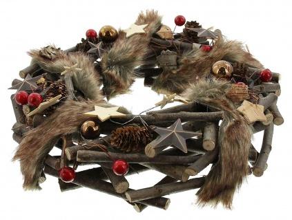 Advents Kranz aus Holz mit Zapfen & Kunst Fell, Weihnachts Winter Tür Tisch Deko