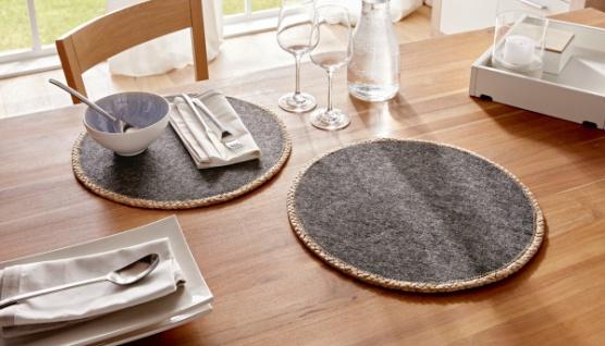 """2 er Set Platz Matten """" Trend"""" grau, rund, Filz & Wasserhyazinthe, Tisch Deckchen - Vorschau"""