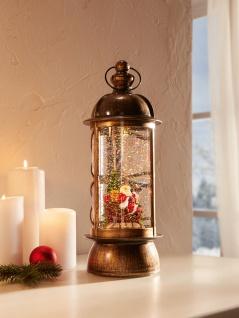 LED Laterne mit Weihnachts Mann Figur, Antik Design, elektr. Deko Schneekugel