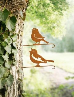 """2er Set Baum Stecker """" Vögelchen"""" Metall, Rost Optik, Garten Deko Sticker Vogel"""