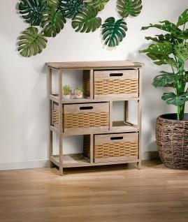 Holz Kommode braun mit 3 Boxen, Shabby Look, Regal Sideboard Schubladen Schrank