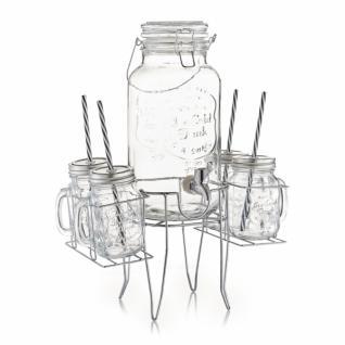6tlg. PARTY SET Gläser, Getränkespender + Ständer VINTAGE RETRO GETRÄNKE GLAS