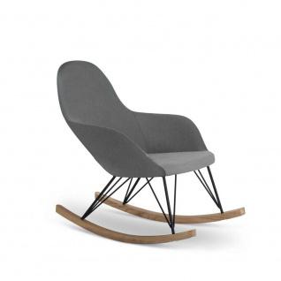 TUONI Design Schaukel Stuhl CHIC, Stoff grau + Holz, Relax Schwing Ruhe Sessel