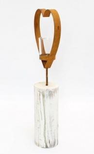 """Teelichtsäule ?Herz"""" Holz & Glas Teelicht Kerzen Halter Ständer Windlicht - Vorschau 4"""