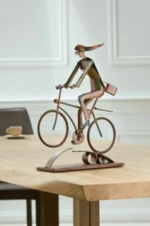 "Gilde Design Skulptur "" Cycling Girl"", Metall, rost, Radfahrer Deko Figur Statur"