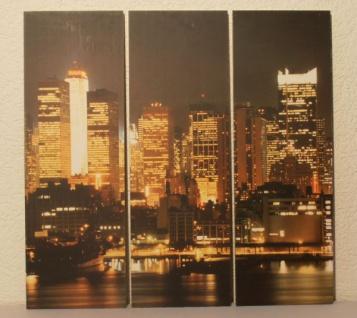 3tlg BILDER-SET SKYLINE NEW YORK bei NACHT TRIPTYCHON NEU BILD WANDBILD LEINWAND