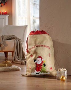 Geschenksack 'Frohe Weihnachten? Jutesack Geschenk Verpackung Tüte Beutel Deko