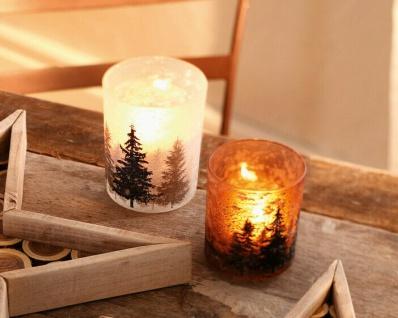 """2er Windlicht ?Schneegestöber"""" Glas Kerzen Halter Ständer Teelicht Weihnachten"""
