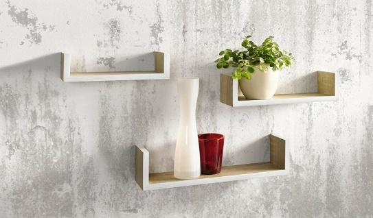 3 Wand Regale aus Holz natur furniert + weiß, Bücher CD DVD Deko Regal Board Set