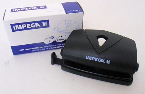 5x IMPEGA 2-fach LOCHER schwarz 12 Blatt verstellbarer Anschlag BÜRO STANZER