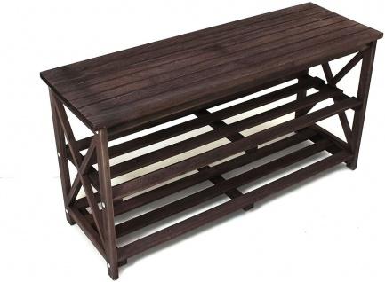 Schuhbank aus Holz, dunkel braun, 2 Ebenen, Flur Sitz Bank, Schuh Regal Ablage - Vorschau 2