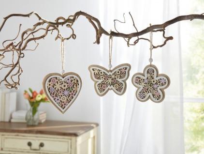 3er Deko Hänger 'Bunte Blumen? aus Holz Wand Tür Fenster Mobile Verzierung