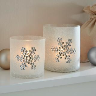 """2x Windlicht """" Schneeflocke"""" aus geeistem Glas, Kerzen Ständer Teelicht Halter"""