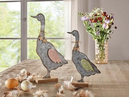 2 Gänse aus Metall, grau, 33 + 25 cm hoch, Oster Gans Tier Deko Figuren Set