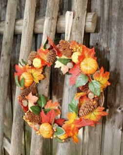"""Tür Kranz """" Kürbis"""" Reisig mit Naturzapfen Kürbissen Blättern, Herbst Wand Deko"""