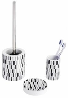 3tlg WENKO Bad Set NATAL Keramik weiß Seifenschale WC Garnitur Zahnputzbecher