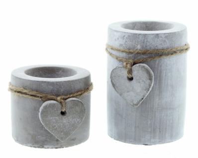 "Teelichthalter "" Stone-heart"" Zement Grau Kerzenhalter Tischdeko Terrasse Neu - Vorschau 2"