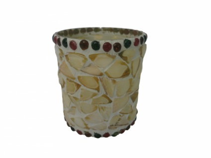 """4 er Set Gilde Windlicht """" Muschel"""" Glas Mosaik, Teelicht Kerzen Ständer Halter"""