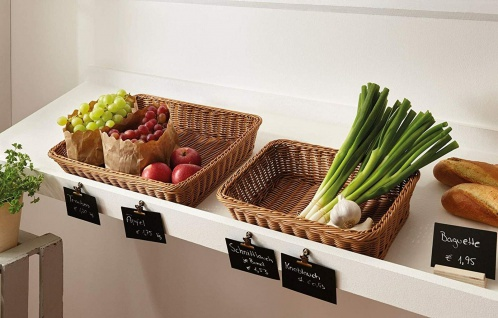 Poly-Rattan Auslage Korb, 45x33 cm, Brot Gemüse Obst Servier Füll Aufbewahrungs