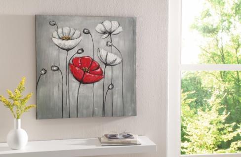 ÖLBILD 'Rote Blüte' 55x55 ÖLGEMÄLDE LEINWAND auf KEILRAHMEN BILD GEMÄLDE BLUMEN