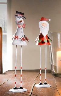 """2er Set Figur """" Santa & Schneemann"""" Metall 25 cm, Deko Weihnachtsmann, Nikolaus"""