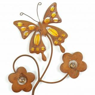 """Garten Stecker """" Schmetterling"""" 115cm hoch, Metall, Rost Optik, Beet Deko Sticker - Vorschau 2"""
