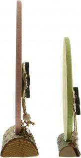 "2 Holz Eier "" Frohe Ostern"" rosa & grün, 20 + 26 cm hoch, Oster Ei Deko Figur - Vorschau 4"