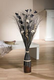 Dekobündel grau + schwarz, ca. 100cm hoch, Natur Deko Zweige Blüten Bündel