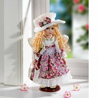 Porzellan Puppe 30cm hoch mit Blumen Kleid, Hut, Tasche + Ständer, Deko Figur