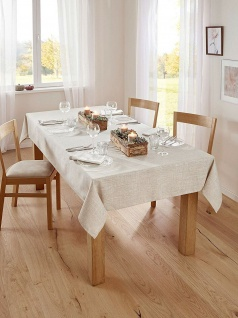 Tafedecke beige, 140 x 240 cm, Leinen Optik, Tisch Tafel Decke Wäsche Tuch