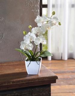 Orchidee im Topf, 40 cm hoch, Kunst Pflanze Büro Zier Kunststoff Blume