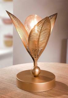 """LED Blüte """" Goldy"""" Deko Tisch Lampe Leuchte Metall Objekt gold batteriebetrieben"""