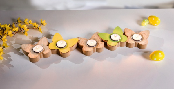TEELICHT BOARD Schmetterling für 5 TEELICHTER KERZEN HALTER STÄNDER LICHTER BANK