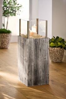 """Windlicht Säule ?Pinienholz"""" Glas Garten Deko Kerzen Teelicht Halter Ständer - Vorschau 1"""