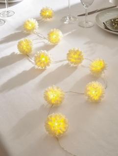 LED Lichter Kette, 10 weiße Blüten, Batterie betrieben, Party Deko Beleuchtung