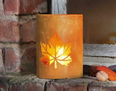 """Windlicht """" Herbstlaub"""" aus Metall in Rost-Optik, Kerzen Halter Teelicht Ständer"""