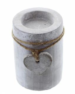 "Teelichthalter "" Stone-heart"" Zement Grau Kerzenhalter Tischdeko Terrasse Neu - Vorschau 4"
